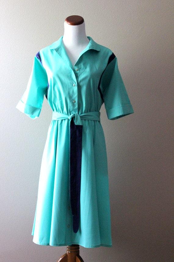 SALE vintage 1950s aquamarine dress // Dark Blue Belt MEDIUM