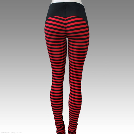BLACK WIDOW red striped matte spandex leggings size small