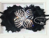 GORGEOUS 2 pcs - 40mm Black Metal Plated Crystal Rhinestone Buttons Bow shaped- wedding / hair / dress / garment accessories