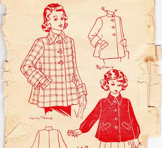 RARE 1940s Girls' Swing Coat Jacket Vintage Sewing Pattern Breast 24 Inches UNUSED FF