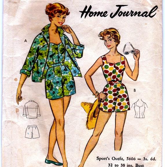 50s Vintage Pattern Bust 38 Playsuit Separates Australian Home Journal 5606