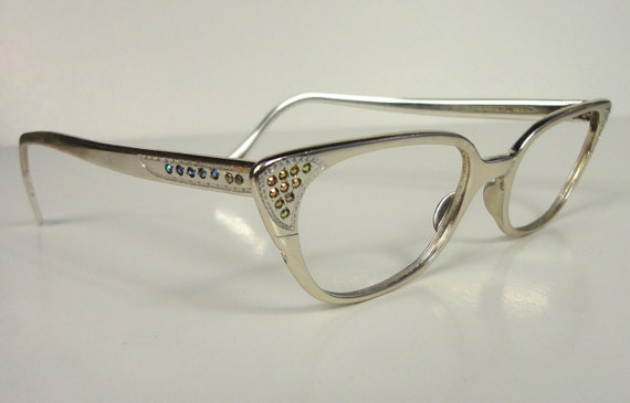 Silver Aluminum Vintage Cat Eye Eyeglass Frames Glasses 1960s 1950s Rhinestone SALE Mid-Century Mad Men Chrome