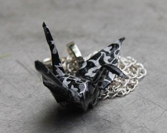 Origami Tsuru Crane Pendant Large - Black with Silver