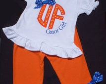 Gator Girl  Outfit Ruffled Hem Puffy Sleeve T-Shirt and Monag Pants with Bow