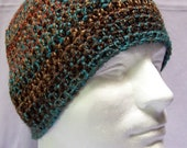 mens hat youth boys beanie crochet hat beanie landscape teal copper rust brown youth adult 6252