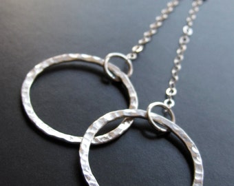 Delicate Hammered Silver Rings On Chains --- Valentines Day Gift Idea