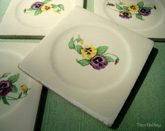 Pansy Tiles 4 Chippy Cottage Coasters Vintage Kitchen Decor Shabby Flower
