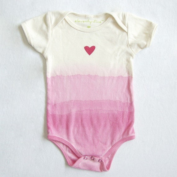 SALE 50% OFF - OOAK Hot Pink Heart Organic Bodysuit Natural Printed and Dip Dyed Ombré 6-12 months