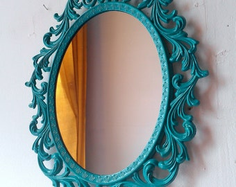 Ornate Princess Mirror in 13 by 10 Inch Vintage Metal Frame, Accent Mirror, Turquoise Blue Home Decor