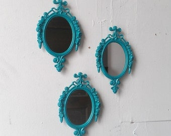 Turquoise Mirror Set of Three in Small Vintage Brass Italy Frames, Turquoise Home Decor, Blue Wall Decor