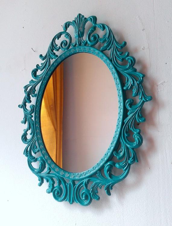 Turquoise home decor vintage mirror beach house boys nursery for Teal framed mirror