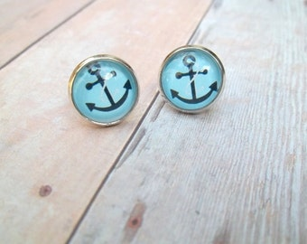 A N C H O R - Turquoise Blue and Black Anchor Nautical, Photo Glass Cab, Silver Plated Stud Earrings, 12mm