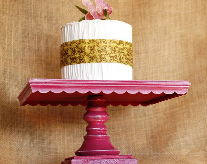 "12"" Square Shabby Chic Pink Pedestal Antiqued Cake Stand - any color available"