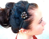 Black/Brown Feather Beaded Headband