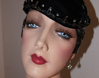 Vintage 50s Black Velvet and Sequin Sculpted Peaked Hat by Favorette / Point Well Taken