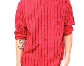90s twin peaks STRIPED grunge RED & black normcore shirt