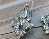 Fine Silver Victorian Gothic Scroll Earrings
