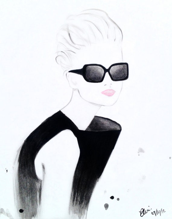 Watercolour fashion illustrationTitled Retro Black - Jessica Stam for Fendi