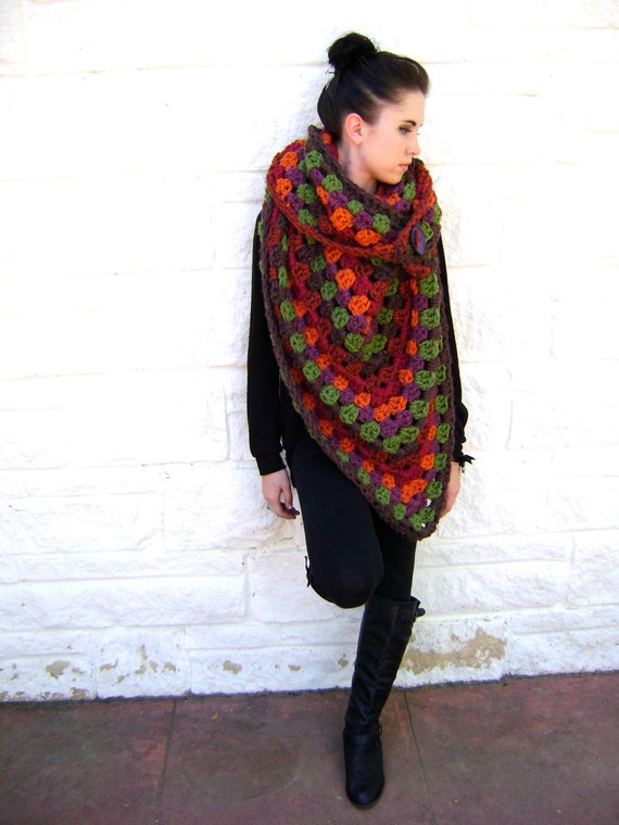 Giant Fall Granny Scarf Pattern - Easy Quick Stand Out - INSTANT DOWNLOAD