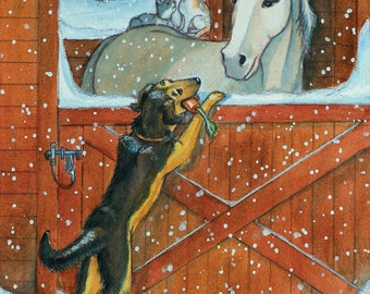 Dog and Horse Holiday Card (10 Card Pack)