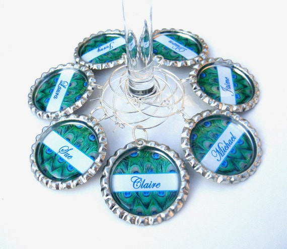 Peacock Wedding Gifts: Peacock Wine Glasses Charms Peacock Favors Peacock Wedding