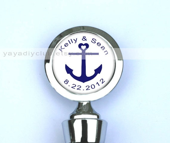 Unique Wedding Gift, Anchor Wedding Favors, Anchor Theme Party Favors - Custom Wine Stopper - Custom wedding date, names, color