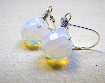 Moonstone Opaline Earrings. Petite dangles