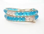 Blue pink bracelet, two wrap bracelet chan luu style, waxed cotton and czech beads