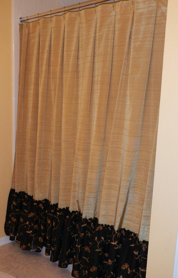 Black And Gold Curtain Fabric Country Red Shower Curtain