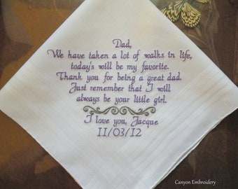 Father of the bride Wedding Gift for Dad Embroidered Wedding Handkerchief for Father of the Bride