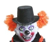 Clown Doll, Creepy Clown, Stars and Moons, Orange, Yellow, Doll, Freak, Black, White, Scary Clown, Halloween Doll, Skeleton, Razor