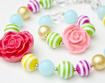 Bright Chunky Necklace and Bracelet Set, Chunky Bead Necklace, Bubblegum Necklace, Gumball Necklace, Girl Jewelry, Baby Jewelry