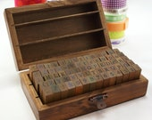 Boxed set of UPPERCASE and LOWERCASE letters, numbers and symbols wood stamp set - Antique motif box- 70 wood peg stamps