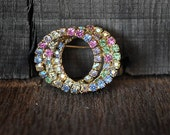 Vintage Brooch Pastel Intertwining Circles