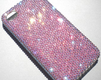 Exquisite Tiny 9ss Iridescent Pink Light Rose AB Crystal Rhinestone BLING Back Case for iPhone 4 4S handmade using 100% Swarovski Elements