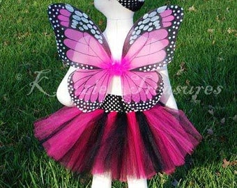 4- Piece Hot Pink Monarch Butterfly Tutu Set - Size 6 months - Chid Size 6