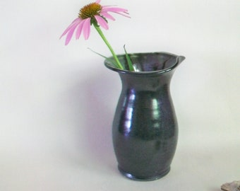 Slate  Vase - Sweet and Simple, with an Altered Rim  - Handmade on the Potters Wheel