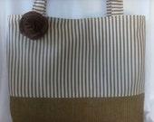 Ex Large Tote/ Diaper Bag/ Purse Ticking/ Burlap