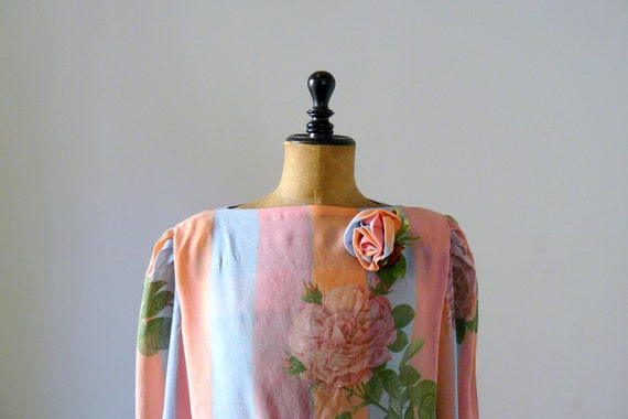 Vintage 1980s pale pink and baby blue blouse with rose brooch