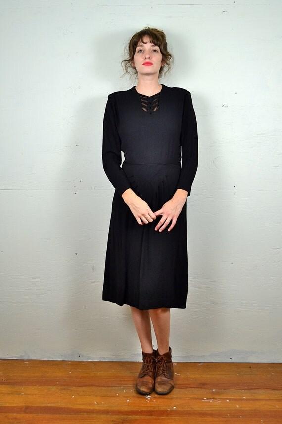 1940s Black Criss Cross Cocktail Dress // Large