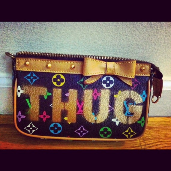 SALE - The THUG LIFE - Louis Vuitton Inspired Vintage Clutch with Gold Hardware and Bow - Wearable Art - Original Design