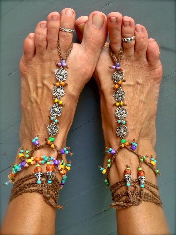 RAINBOW Flower BAREFOOT SANDALS brown colorful Barefoot Shoes Crochet Foot jewelry gypsy hippie slave anklet Beach Wedding