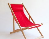 White oak deck chair with organic red cotton sling SALE
