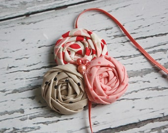 Coral and Taupe triple rosette headband