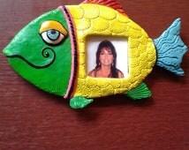 Polymer Clay Colorful Fish Fridge Magnet - Fish Picture Frame Fridge Magnet - Green/Yellow Fish Fridge Magnet