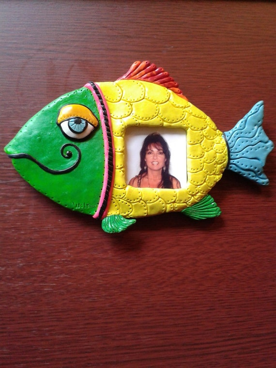 Polymer Clay Colorful Fish Fridge Magnet - Fish Picture Frame Fridge Magnet - Green/Yellow Fish Fridge Magnet