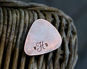 Custom Monogram Guitar Pick in Handstamped Copper - Perfect Gift for Dad, Husband or Boyfriend