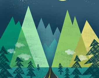 The Long Road at Night Print