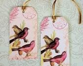 Vintage Gift Tag, Hang Tag, Birds, Set of 6