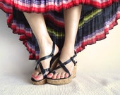 SaLe CHA-CHA Vtg Leather Sandals Cork Platform Shoes by Rampage In Black with Silver Hardware Size 7- 7.5